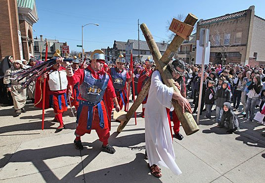 Jesus on the Cross in Mexican Easter Celebration